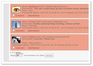 täglicher spam auf www.tageausglas.de
